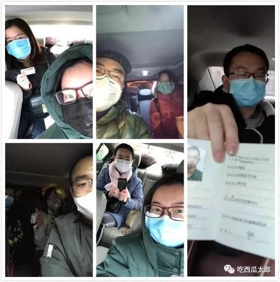 众位自愿司机与接送的医务人员自拍相符影