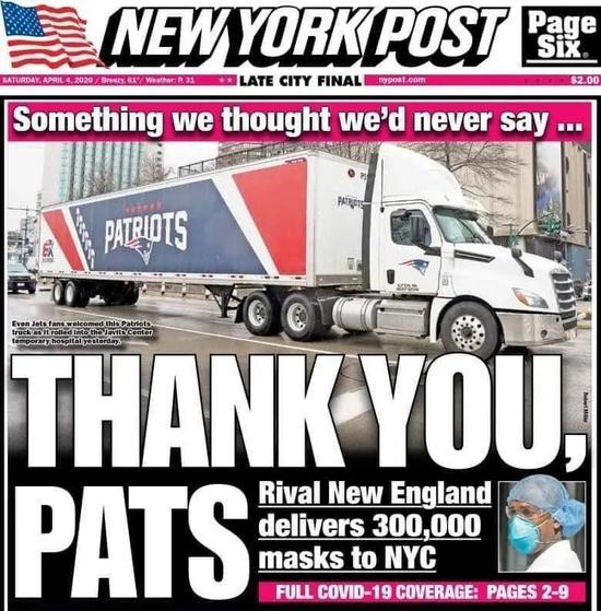 图为4月4日《纽约邮报》头版封面。