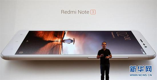 2016年3月3日,在印度新德里,中国互联网企业小米科技推出针对印度市场的红米Note 3手机。 新华社记者毕晓洋摄