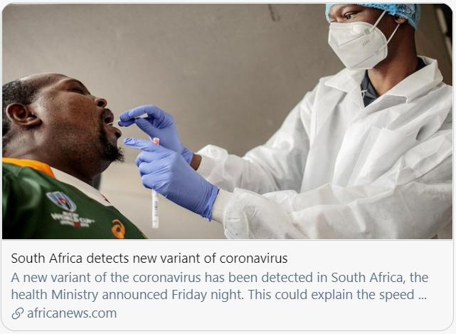 南非发现新冠病毒新变种。/非洲新闻台报道截图