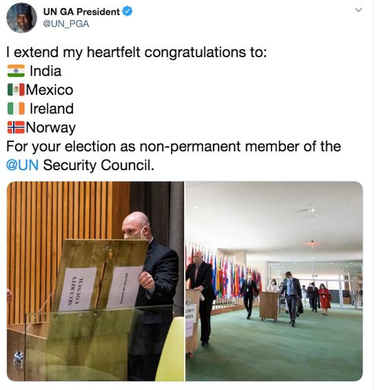 联合国大会主席班德发文祝贺当选安理会非常任理事国的四个国家。/社交媒体截图