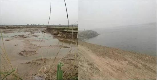 陕西黄河湿地原状与现状(从左到右)