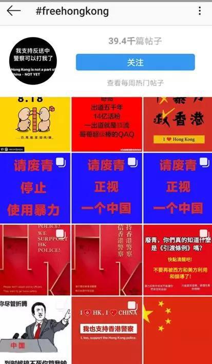 """▲图为被""""帝吧网友""""和""""饭圈女孩""""在境外社交平台上一度夺下的两个污蔑香港和香港警察的话题标签"""
