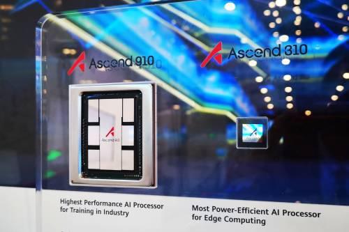 图为华为AI处理器Ascend910和Ascend310。新华社发