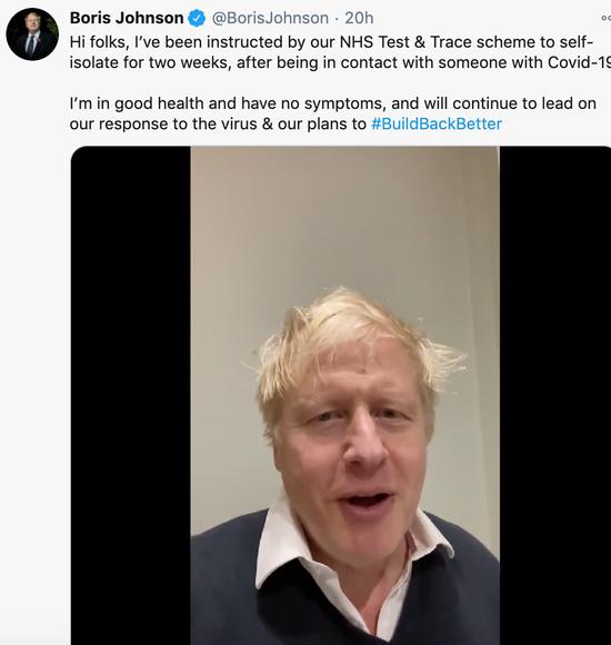约翰逊在推特发视频介绍本身的状况。
