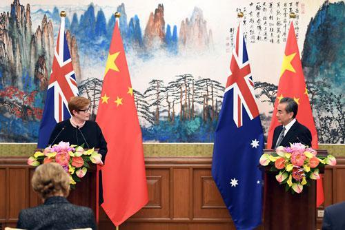 2018年11月8日,国务委员兼外交部长王毅在北京同澳大利亚外长佩恩举行第五轮中澳外交与战略对话后共同会见记者。