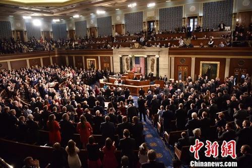 原料图:当地时间2019年1月3日,美国国会在首都华盛顿开幕。中新社记者 沙晗汀 摄
