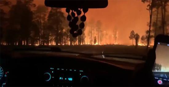 曼格姆山火现场,推特视频截图