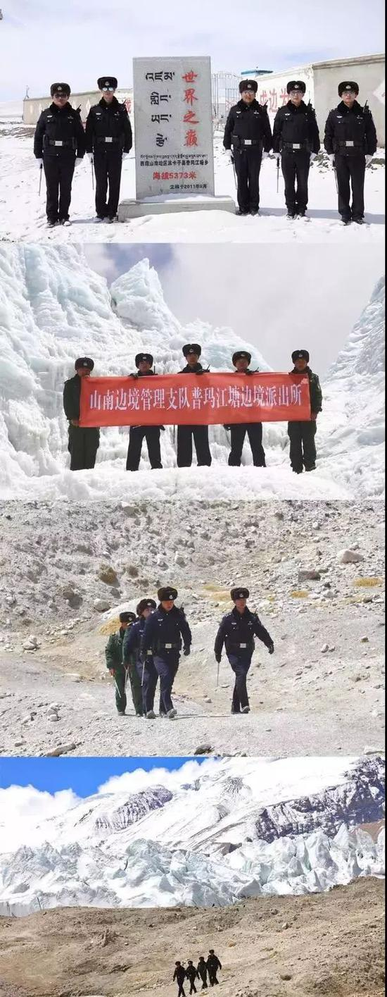 ▲普玛江塘边境派出所民警和护边员执勤场景。图源:国家移民管理局