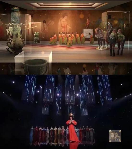 ▲河南春晚《唐宫夜宴》截图(上)和《国家宝藏》节目截图(下)。