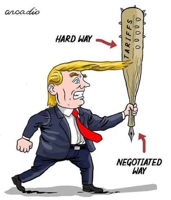 """▲[两种方式]美国总统特朗普手持的大棒象征着他对待世界的两种方式:有狼牙的""""关税""""大棒是""""强硬的方式"""",大棒末端的笔尖是""""谈判的方式""""。(美国卡格尔漫画网)"""