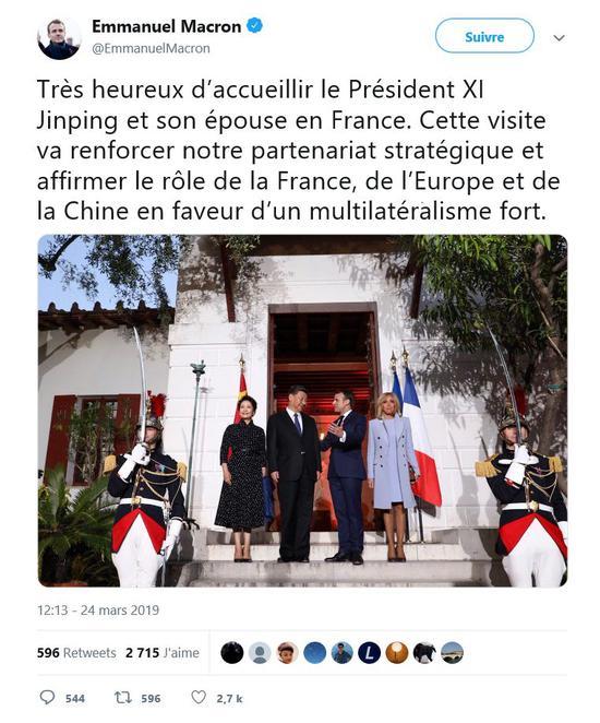 """△当天,马克龙总统就在社交媒体上发布了这样一段感言:""""我非常高兴能够迎接习近平主席夫妇到访。这次访问将进一步深化我们两国的战略合作伙伴关系。法国、欧洲与中国将更加明确在一个强有力的多边主义体系中扮演的角色。""""(央视记者康玉斌提供)"""