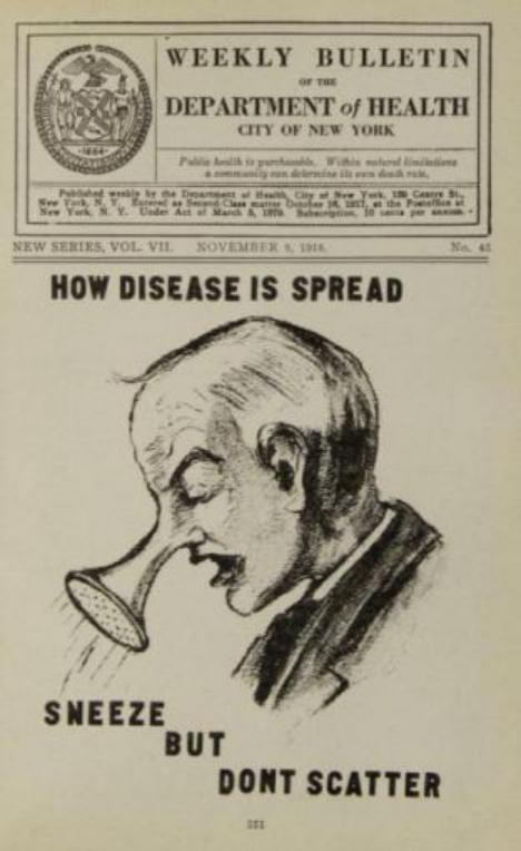 1918年有关大流感传播途径的宣传画(打喷嚏和咳嗽)。
