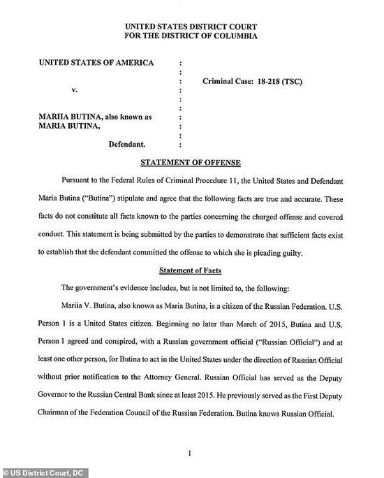 美方公布的相关布蒂娜认罪的片面内容。(图源:《每日邮报》)