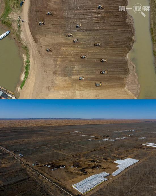 """上图为2018年6月拍摄的沅江市南洞庭湖下塞湖矮围集中拆除专项整治行动施工现场。下图为2019年11月工人在位于腾格里沙漠边缘的宁夏中卫市""""美利林区""""清理污染物。"""