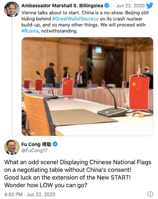 """中国外交部军控司司长傅聪在社交网络上质问比林斯利:""""美方的下限在哪里?""""(图源:推特)"""