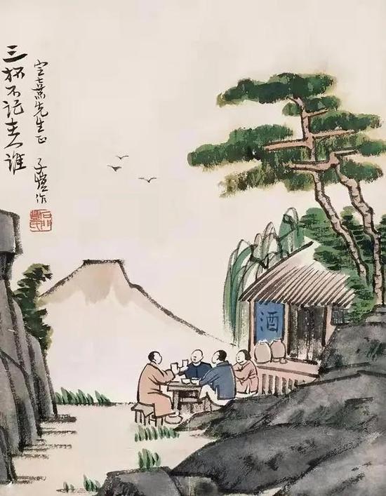 丰子恺画作《三杯不记主人谁》