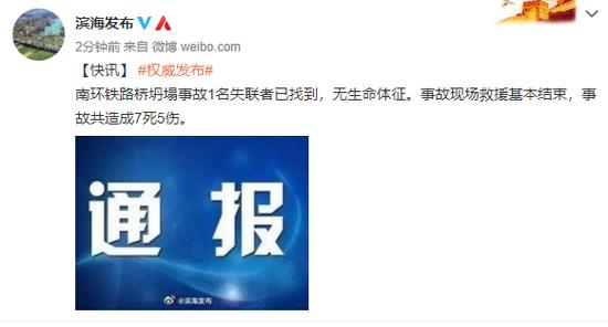 """天津""""铁路桥坍塌事故""""救援基本结束,共致7死5伤"""