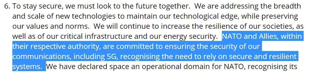 """""""伦敦宣言""""中提到5G的表述,截图自北约官网"""
