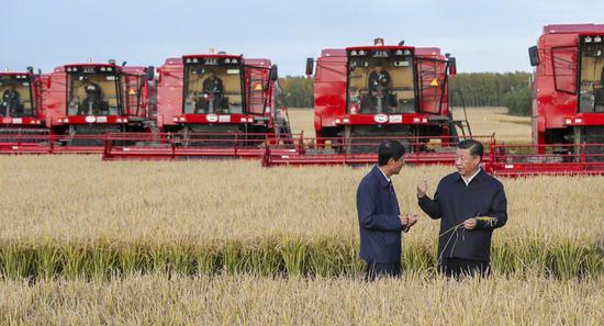 △2018年9月25日,习近平来到黑龙江省七星农场万亩大地号了解生产全程机械化情况。