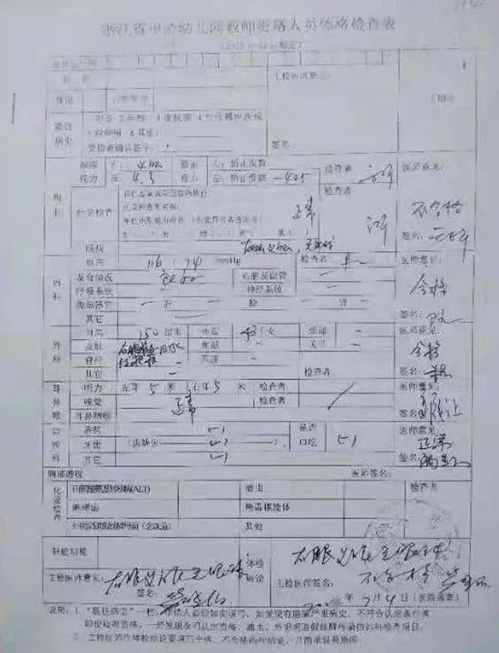 王丽第一次在义乌市中医医院的体检表