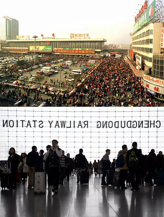 上图:1999年2月24日,成都火车站旅客爆满。新华社记者陈燮摄下图:2017年1月13日,在成都火车东站,乘客准备乘车。新华社记者薛玉斌摄