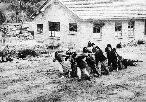 1959年,顾方舟(前排右一)在昆明与职工创建生物医学研究所,正在建设工地平整地基。