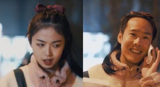 ▲全棉时代引发争议的广告宣传片截图。片中女子(左)用卸妆水一抹后秒变男人(右)。