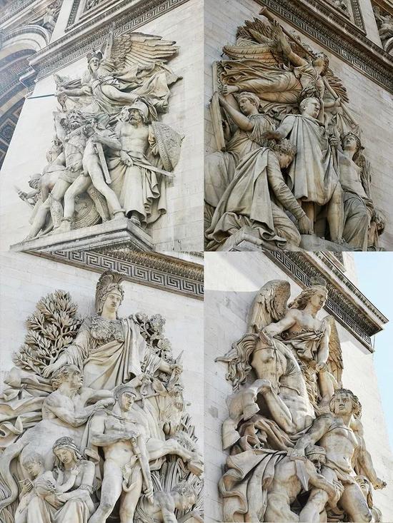 """△在凯旋门两面门墩的墙面上,有4组以战争为题材的大型浮雕:""""出征""""、""""胜利""""、""""和平""""和""""抵抗""""。(央视记者张晓鹏拍摄)"""