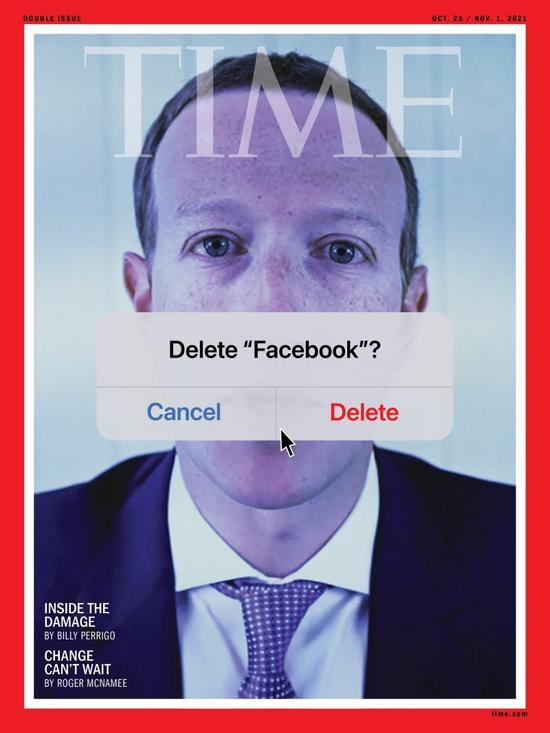 扎克伯格以诡异的形象登上《时代周刊》的封面。