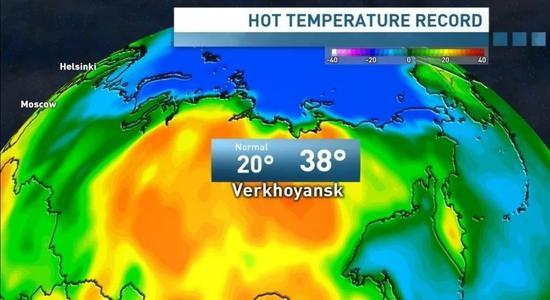 近日,俄罗斯西伯利亚小镇维尔霍扬斯克出现38摄氏度高温,突破了北极圈内有记录以来的最高温度。图/俄罗斯第一频道电视台视频截图