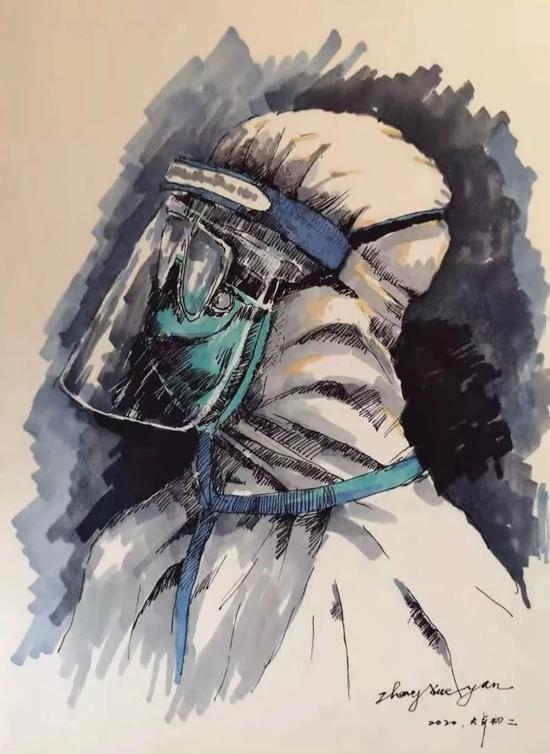 插画 | 张学彦,《向医护人员致敬》