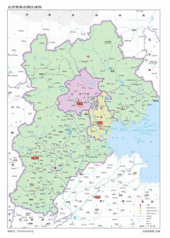 京津冀都市圈区域图