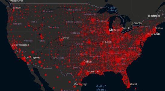 约翰斯霍普金斯大学疫情数据网页截图