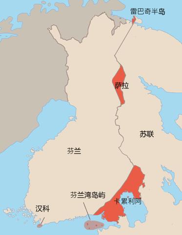 1940年芬兰被迫割让给苏联的领土(红色区),汉科半岛为租借。