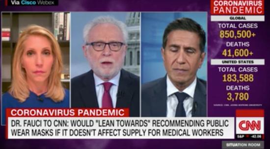 """福奇称会""""倾向于""""建议公众佩戴口罩。/CNN视频截图"""
