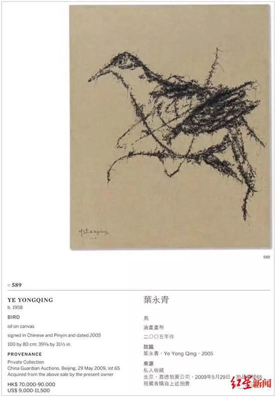 被撤拍的叶永青作品《鸟》,估价7万到9万港元。