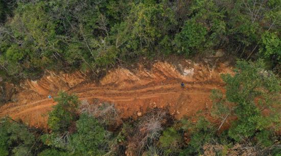 2020年1月1日的航拍图显示,施工便道穿林而过且远离河道,不符合环评要求,且对林地树木造成严重破坏。 受访者供图