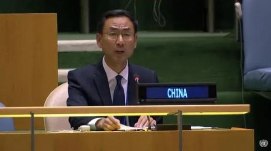 中国常驻联合国副代表耿爽在第75届联合国大会裁军与国际安全委员会一般性辩论中发言。图源:网络