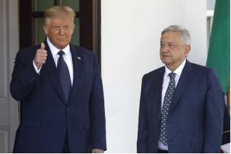 ▲美国总统特朗普与墨西哥总统洛佩斯。(图源:美联社)
