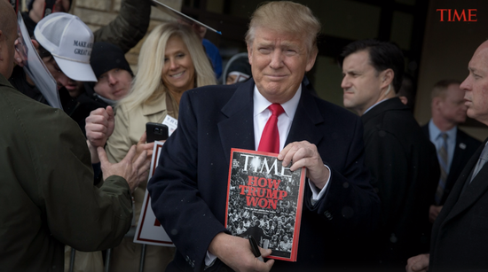 Trump showed the media his appearance on Time. Image source: Time.com