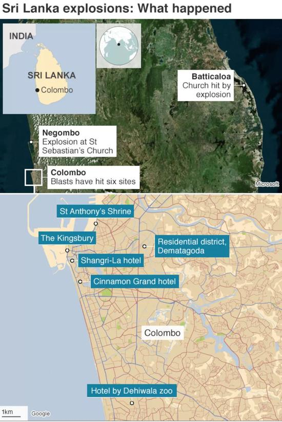 斯里兰卡连环爆炸发生地点(图片来自BBC)