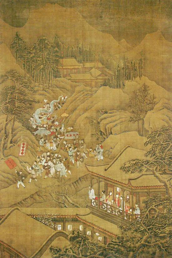 大英博物馆藏18世纪中国绘画,画家使用细腻的线条和用色,勾勒出了元宵节赏灯舞龙、热闹欢腾的情景。