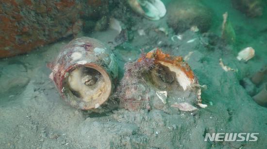 图为浸泡在海水中的陶瓷(纽西斯通讯社)