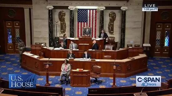 """2019年5月7日,美国众议院针对""""台湾保证法2019""""进行投"""