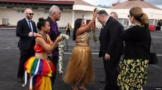 ▲8月5日,美国国务卿蓬佩奥访问密克罗尼西亚。(路透社)