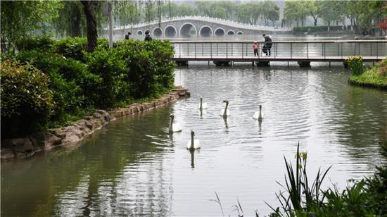 4月22日,游客在武汉动物园游玩。当日,在严格落实疫情防控措施的前提下,武汉动物园有序恢复开放。新华社记者 程敏 摄