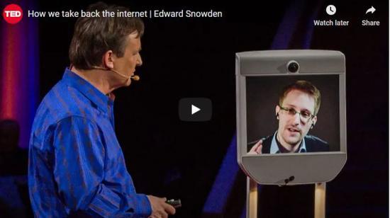 ·2014年3月,斯诺登以线上方式发表TED演讲。