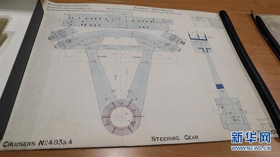 这是11月2日在英国纽卡斯尔的泰恩—威尔档案馆拍摄的致远舰设计图纸。 新华社记者 韩岩 摄