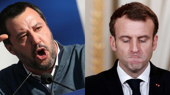 意大利副总理马特奥·萨尔维尼(左)与法国总统马克龙(右)。(图:今日俄罗斯)